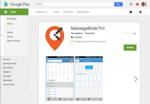 MassageBook mobile app in Android store